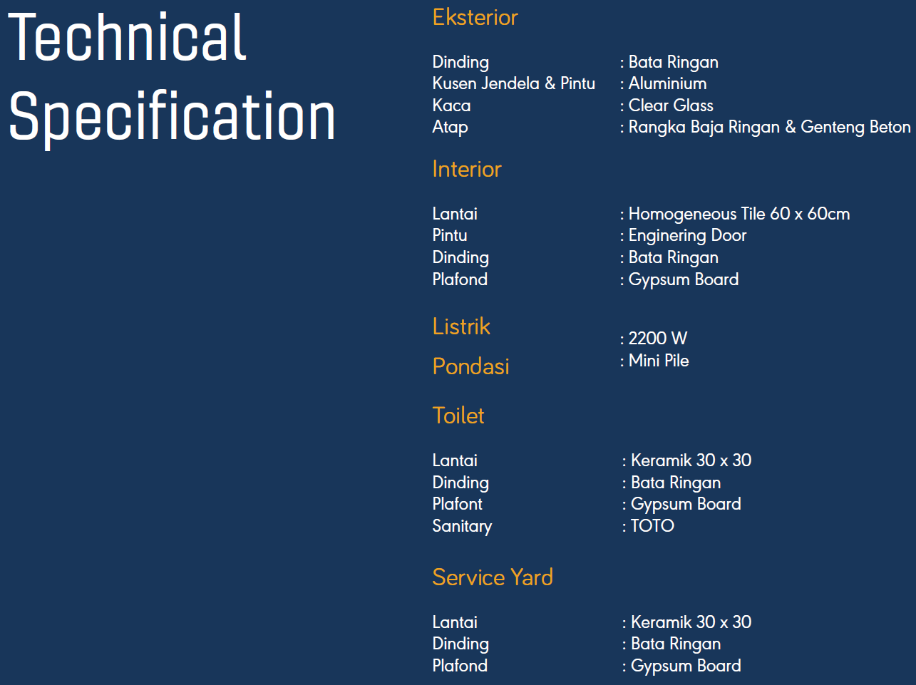 Banara Serpong Specifications